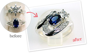2つの指輪を1つの指輪に作り替え